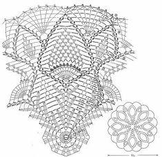 Classico e raffinato centrino all'uncinetto che include diversi motivi dal fiore centrale alle pigne ed ancora i ventagli.  fonte:http://xn--80aaac0