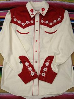 Roja Red Tunic Duster Shirt Black Embroidery Sz Medium Western Rodeo Spanish