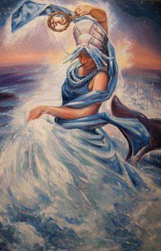 Yemayá Goddess Of The Sea by Wendell Wiggins Goddess Of The Sea, Divine Goddess, Durga Goddess, Yemaya Orisha, Orishas Yoruba, African Mythology, Black Mermaid, Sacred Feminine, Mermaids And Mermen