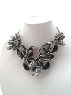 Items similar to Handmade statement necklace, zipper necklace, unique on Etsy Angel Chen, Handmade Statement Necklace, Zipper Crafts, Zipper Jewelry, Textile Jewelry, Flower Necklace, Jewellery Display, Zippers, Wearable Art