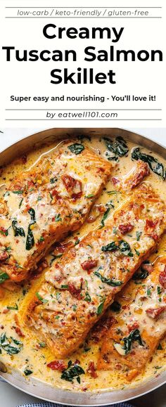 Creamy Garlic Tuscan Salmon With Spinach and Sun-Dried Tomatoes - salmon recipe - Smothered in a luscious garlic butter spinach and sun-dried tomato cream sauce this Tuscan salmon recipe is so easy quick and simple - recipe by Baked Salmon Recipes, Fish Recipes, Seafood Recipes, Chicken Recipes, Dinner Recipes, Cooking Recipes, Healthy Recipes, Salmon Spinach Recipes, Salmon Recepies