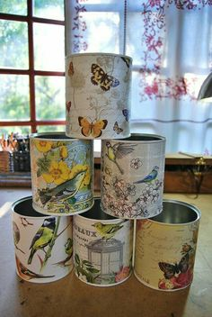 Repurposed_Baby_Formula_Jars (how to make) - by Annie Hamman Hemmapyssel, Konservburkar, Boxning Home Crafts, Diy And Crafts, Arts And Crafts, Paper Crafts, Garden Crafts, Aluminum Can Crafts, Tin Can Crafts, Aluminum Cans, Crafts With Tin Cans