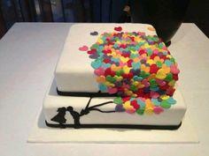 rainbow heart balloon cake