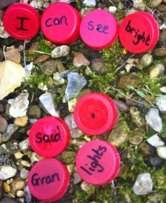 Phonics Indoors and Out! Hunt for the bottle tops and see how many sentences the children can make and photograph.