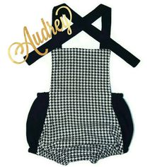 Audrey Romper Houndstooth Romper Black and White by RyleeAndRoscoe