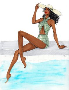 Sketching a sweet and sexy Norma Kamali swimsuit in my latest illustration - Poolside Pretty by Veronica Marché