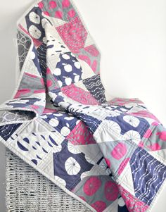 "Quilt - Baby Crib Quilt - Pink Navy Blue and Grey Patchwork - ""Scrapple for the Apple"" on Etsy, $121.36 AUD"