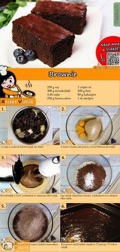 Valami nagyon csokisra vágysz? Próbáld ki a Brownie-t! Csupa csoki és csupa jó! A Brownie recept videóját a kártyán levő QR kód segítségével bármikor megtalálod! :) #Brownie #ReceptVideók #Recept #Sütemény #Desszert #SüteményRecept #Desserts