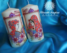 Bride & groom wedding candles for a lovely bride-to-be. Apologies for smudging out the personalised names (the candles are a surprise for the bride). Did my best to make them colourful this time as I was asked to do them with different colours & not just red & gold.  www.ArtisticHenna.com https://www.facebook.com/bharathisanghani