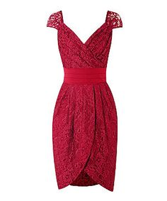 Plum (Red) Lipstick Boutique with Lydia Bright Elizabeth Plum Lace Wrap Tulip Dress | 270450765 | New Look