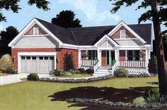 <ul><li>This charming one level home plan showcases features such as: a covered front porch, sloped ceiling, columns, an angled breakfast bay, and split bedrooms.  </li><li>Privacy for formal entertaining is offered at the dining room and the great room fireplace warms the home for intimate gatherings. </li><li>The master bedroom offers a large walk-in closet, has a private bath and easy access to the laundry. </li><li>A wood rail decorates the stairs to a lower level providing additional…
