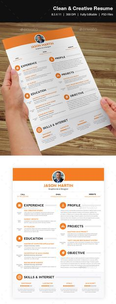 Clean & Creative Resume — Photoshop PSD #premium #attractive • Available here → https://graphicriver.net/item/clean-creative-resume-/3909052?ref=pxcr