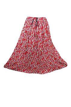 ce8cd8a812 Mogul Interior Womens Festive Skirt Red Printed Flare Crinkle Boho Maxi  Skirts: Amazon.co