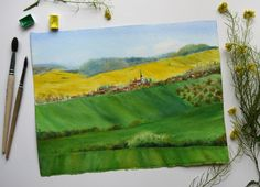 Watercolor landscape Fields in South Czechia