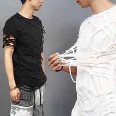 Avant garde Draped Spider Net Short Sleeve T Shirt