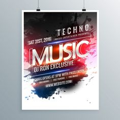 Free Banner Templates Music (4) | PROFESSIONAL TEMPLATES Christmas Party Poster, Halloween Party Poster, Free Banner Templates, Flyer Design Templates, Music Flyer, Promotional Flyers, Techno Music, Corporate Flyer, Freelance Graphic Design