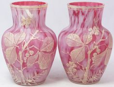 Pair of Mary Gregory Pink Art Glass Enamelled Vases via eliteauction.com