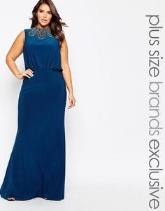 c1de3d4486a Forever Unique Plus High Neck Embellished Maxi Dress Plus Size Womens  Clothing