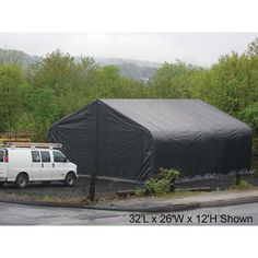 ShelterLogic 26Ft.W Peak Style Instant Garage/Storage Shelter - Gray, 32ft.L x 26ft.W x 12ft.H, Model# 84523 by ShelterLogic. $3999.99. The ShelterLogic Peak Style Garage/Storage Shelter is the ultimate big storage solution for commercial, industrial or personal use. This storage building is perfect for storing autos, trucks, RVs, boats, agricultural equipment, tractors, bulk storage, ATVs, jet skis, snowmobiles, lawn and garden equipment and more. Easy to install and con...