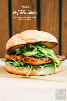 Vegan BBQ Tofu Burger with Pickled Cucumber Salad and Wild Arugula