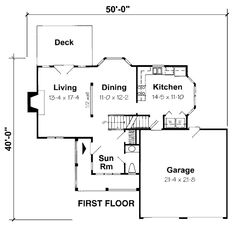 First Floor Plan of Country   Traditional   House Plan 24654