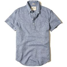 Hollister Linen Popover Shirt ($24) ❤ liked on Polyvore featuring men's fashion, men's clothing, men's shirts, men's casual shirts, navy, mens two pocket short sleeve shirts, mens slim shirts, mens navy blue shirt, mens casual short-sleeve button-down shirts and mens short sleeve shirts
