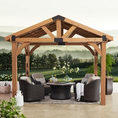 Finish your backyard with a gazebo or pergola from Sam's Club. Choose from wood, metal and other materials for the outdoor patio of your dreams! Patio Diy, Diy Gazebo, Gazebo Plans, Backyard Gazebo, Pergola Patio, Backyard Landscaping, Pavillion Backyard, 10x12 Gazebo, Screened Gazebo