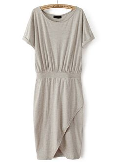 Grey Short Sleeve Split Bodycon Dress US$21.10