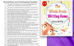 In the past year I have had a chance to try out the Whole Brain Writing Game . I like how it starts by creating sentences orally before pu. 1st Grade Writing, Middle School Writing, Kindergarten Writing, Teaching Writing, Teaching Ideas, Literacy, Writing Games, Writing Activities, Classroom Activities