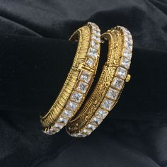 Kada Bangles with White Square Stone