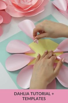 Let's make Dahlia paper flower together? Jump into the video tutorial where I show you how to make this gorgeous flower step-by-step very easily! And free templates are waiting for you! You can download them using the link attached to this pin. Paper dahlia, paper flower, diy paper flower, dahlia paper flower, paper flower templates svg, pdf, paper flower tutorial, giant papaer flower easy Paper Flowers Kids, Handmade Paper Flowers, Flower Crafts Kids, Paper Flower Garlands, Flower Paper, How To Make Paper Flowers, Paper Flower Backdrop, Paper Flower Tutorial, Flower Diy