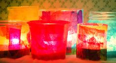 Mod Podge & tissue paper tea light holders - great activity for young children to make as gifts
