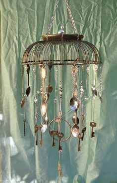 Silver Basket Wind Chime With Skeleton Keys and by sarahracha