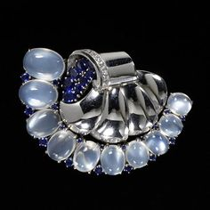 #Sapphire and #moonstone brooch by Trabert & Hoeffer-Mauboussin, USA, ca. 1940 l Victoria and Albert Museum