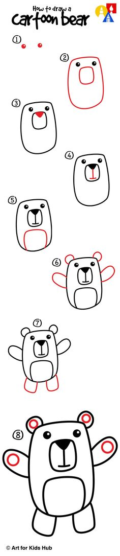 Easy step by step to teach kids how to draw a cute cartoon bear!