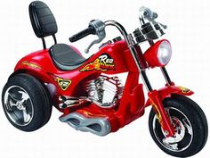 Mini Motos Red Hawk Child's Motorcycle 12v Red - Cruise in style with the Mini Motos Red Hawk Motorcycle. Be the most popular kid in the neighborhood. Easy push button throttle with two forward speeds and reverse, includes sissy bar! Riding battery operated vehicles will help develop your child's coordination at an early age. Suggested Age: 3-6 years old