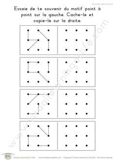 Dans les fiches de travail « Mémorisation motifs points (3x3) » l'élève doit retenir le design point-à-point sur la gauche pour pouvoir le recopier sur la droite, de mémoire.