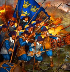 Swedish pikemen and matchlock arqubusiers in the thick of battle under the command of King Gustavus Adolphus of Sweden, Thirty Years War Military Tactics, Military Art, Military History, Medieval, Swedish Army, Thirty Years' War, Early Modern Period, Imperial Army, Peter The Great