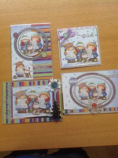 4 Christmas cards made from one Hunkydory set