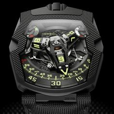 """Urwerk UR-210 CP 'Clou De Paris' Watch - by Zach Pina See more great close-ups at: aBlogtoWatch.com """"Whenever we talk about Urwerk, it's par for the course to say that these spectacular machines have just got to be seen to be believed. The newest release from their mad scientists, the Urwerk UR-210 CP 'Clou de Paris,' is no different, with a black and textured visual refresh. Last time, we saw the UR-210 model with its radical satellite hour..."""""""