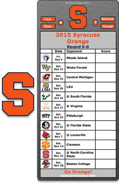 Free 2015 Syracuse Orange Football Schedule Widget for Mac OS X - Go Orange! - National Champions 1959 http://riowww.com/teamPages/Syracuse_Orange.htm