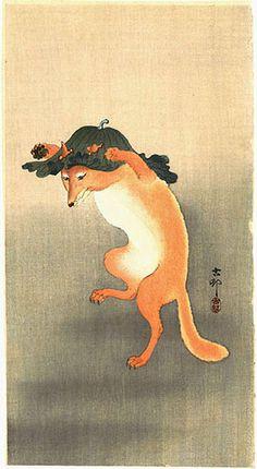 hanga gallery . . . torii gallery: Dancing Fox by Ohara Koson
