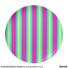 Colorful Rainbow Stripes Melamine Plate