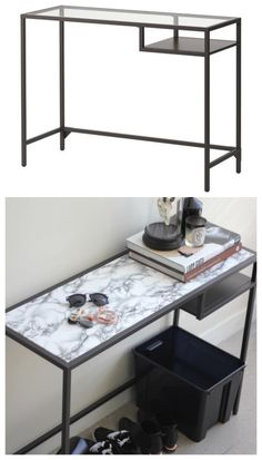 IKEA's Vittsjö laptop table is a favorite of DIY bloggers because of its endless customizability. For this makeover, bloggers Syl and Sam cover its glass top with marble contact paper to create a glamorous and super-stylish console. Find out how here »