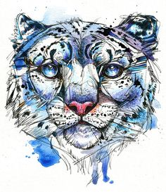 Icy Snow Leopard 8x10 Original Ink and by AbbyDiamondDraws on Etsy