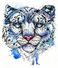 Icy Snow Leopard 8x10 Original Ink and by AbbyDiamondDraws on Etsy