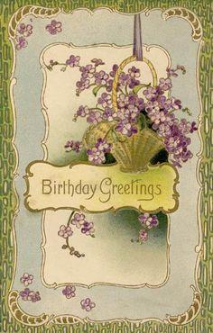 Birthday Greetings -.violets