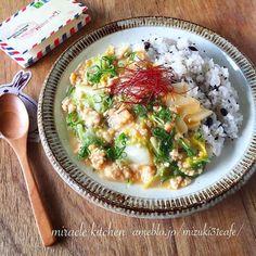 レシピあり!♡フライパン1つで超簡単♡白菜とひき肉のトロ味噌乗っけご飯♡ | Mizukiさんのお料理 ペコリ by Ameba - 手作り料理写真と簡単レシピでつながるコミュニティ -