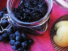 Kékszőlő-birs lekvár Grape Jam, Diy Food, Preserves, Pickles, Blueberry, Fruit, Desserts, Recipes, Squash
