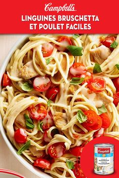 Easy Bruschetta Chicken Linguine Fresh tomatoes and basil add a burst of freshness to this easy weeknight chicken and pasta dish. You'll never believe a meal can have this much flavour and still be low in sodium! Linguine Recipes, Pasta Recipes, Chicken Recipes, Dinner Recipes, Cooking Recipes, Healthy Recipes, Cooking Games, Recipes With Fresh Pasta, Cooking Torch